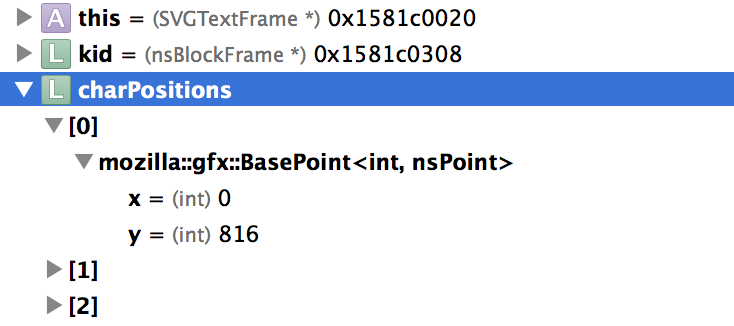 The Xcode Variables area showing the elements of an nsTArray.