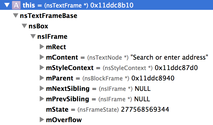 The Xcode Variables area showing a nsTextNode object with its type summary, the string value of the node.